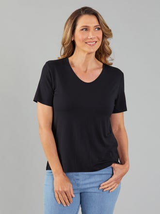 Bamboo Scoop V Neck Top