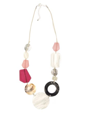 Shell And Resin Statement Necklace