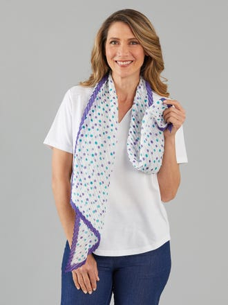 Pleated Spot Border Scarf