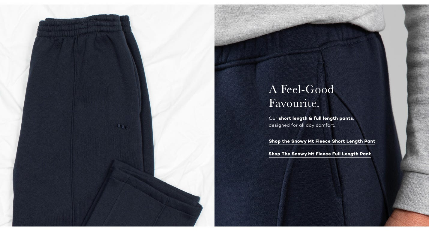 Shop the Snowy Mt Fleece Pant. Comfortable and Warm in Short and Full Lengths