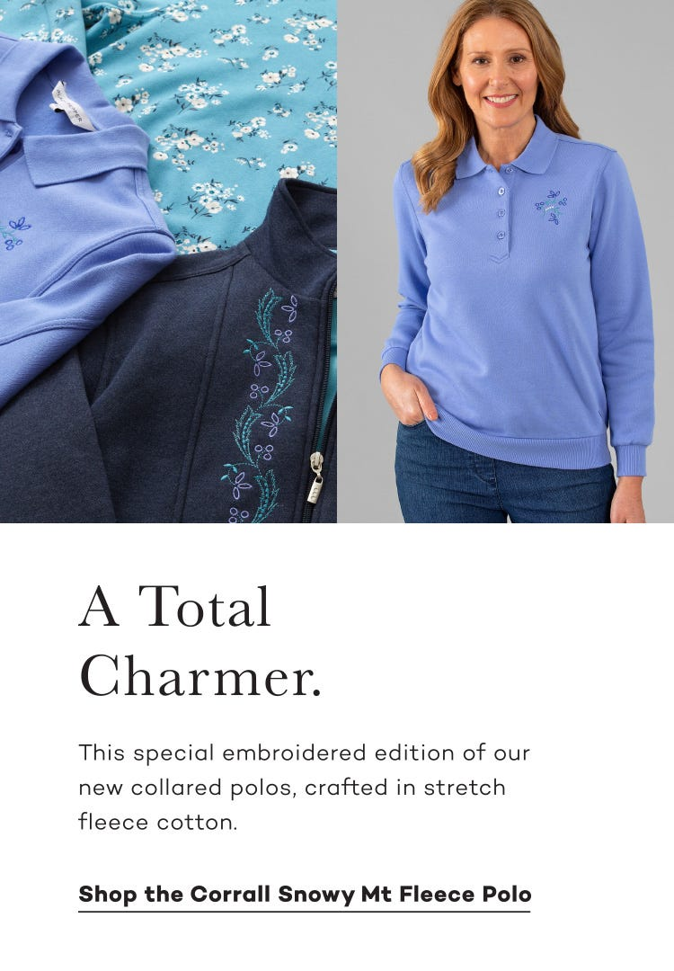Shop the Corrall Snowy Mt Fleece Polo. Feminine and Warm with Floral Embroidery