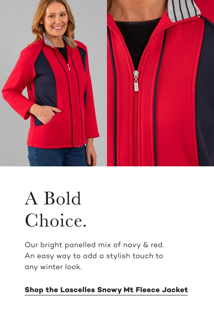 Shop the Lascelles Snowy Mt Fleece Jacket. Choose colour in this Bold Bright Red style